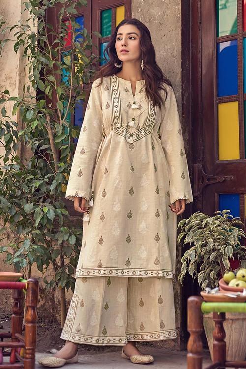 Gul Ahmed 1 Piece Custom Stitched Shirt - Off-White - LB14639