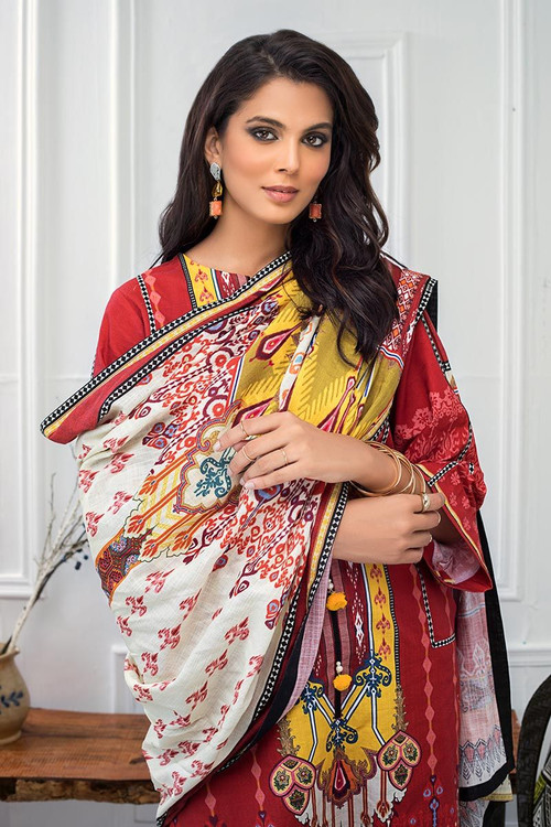 Gul Ahmed 3 Piece Custom Stitched Suit - Red - LB14640