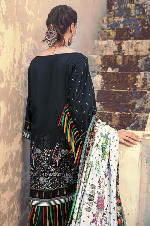 Gul Ahmed 3 Piece Custom Stitched Suit - Black - LB14642