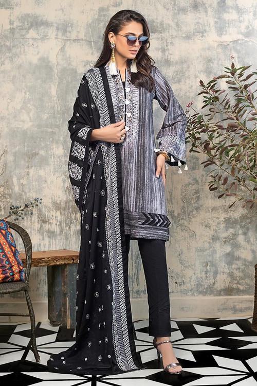 Gul Ahmed 3 Piece Custom Stitched Suit - Black - LB14657