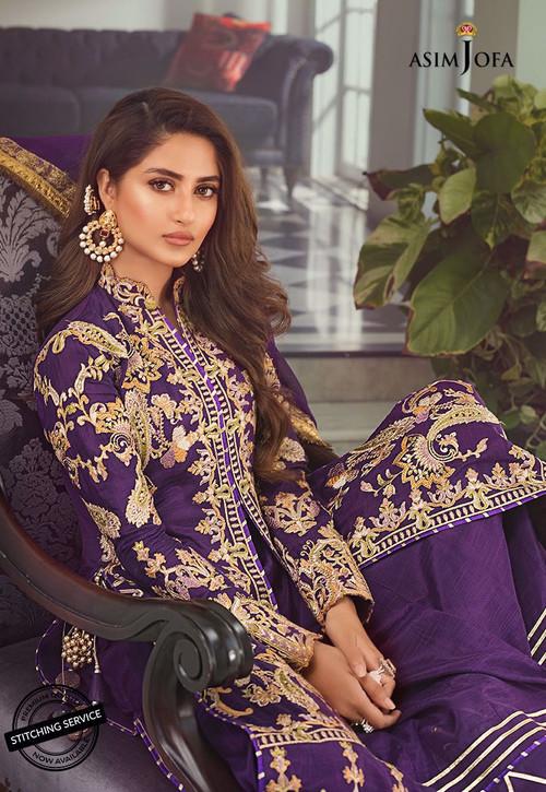 Asim Jofa 3 Piece Custom Stitched Suit - Purple - LB15413