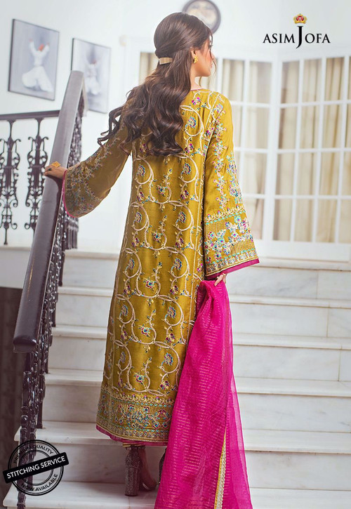 Asim Jofa 3 Piece Custom Stitched Suit - Yellow - LB15414