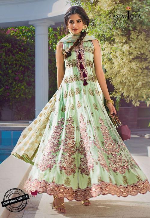 Asim Jofa 3 Piece Custom Stitched Suit - Green - LB15416