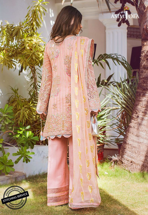 Asim Jofa 3 Piece Custom Stitched Suit - Pink - LB15417