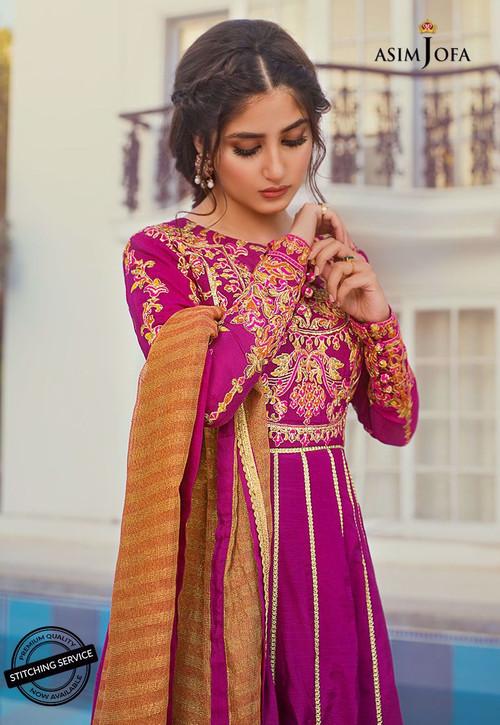 Asim Jofa 3 Piece Custom Stitched Suit - Purple - LB15418