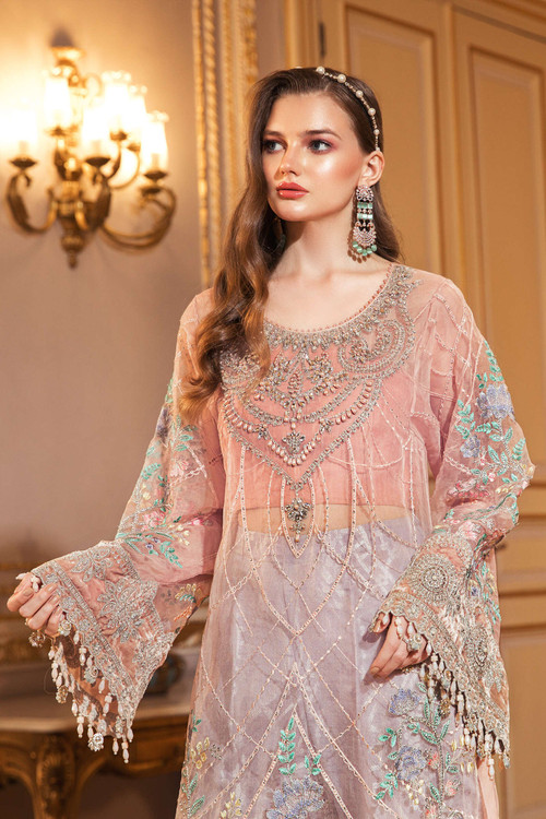 Maria B. 3 Piece Custom Stitched Suit - Pink - LB15696