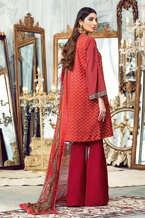 Gul Ahmed 3 Piece Custom Stitched Suit - Orange - LB15826