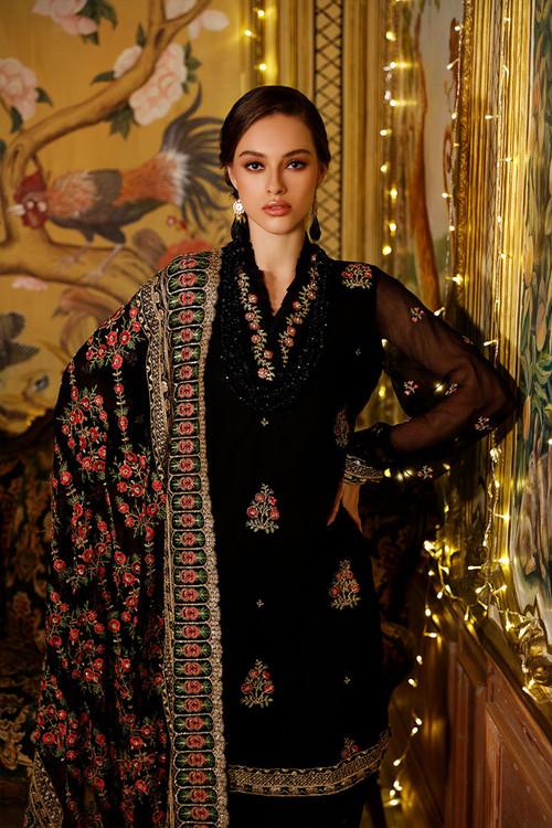 Gul Ahmed 3 Piece Custom Stitched Suit - Black - LB15845