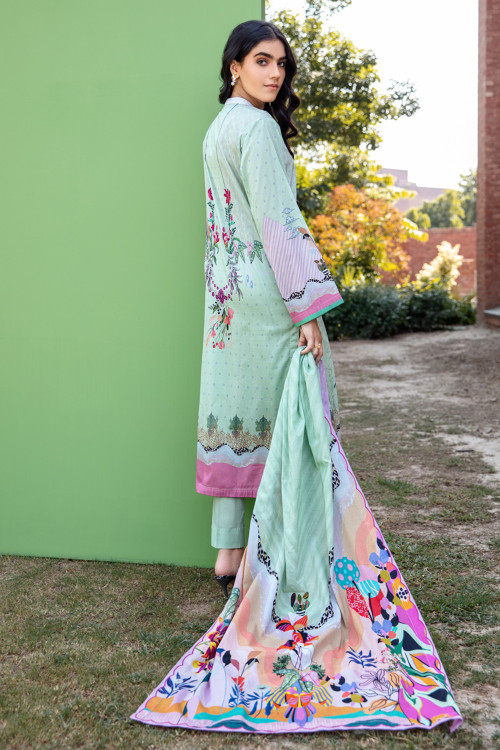 Gul Ahmed 3 Piece Custom Stitched Suit - Green - LB15958