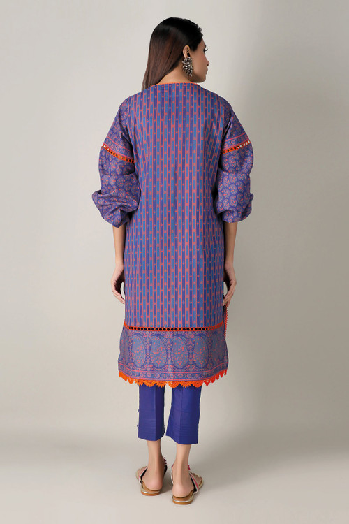 Khaadi 2 Piece Custom Stitched Suit - Blue - LB15989