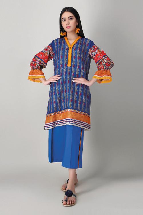 Khaadi 2 Piece Custom Stitched Suit - Blue - LB16008
