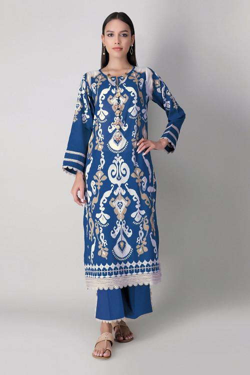 Khaadi 2 Piece Custom Stitched Suit - Blue - LB16049
