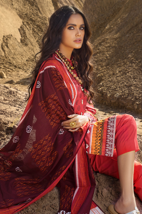 Gul Ahmed 3 Piece Custom Stitched Suit - Red - LB16127