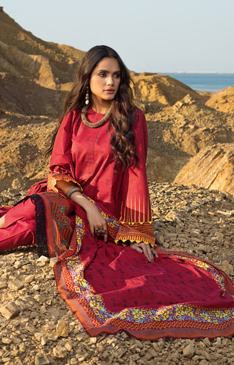 Gul Ahmed 3 Piece Custom Stitched Suit - Red - LB16128