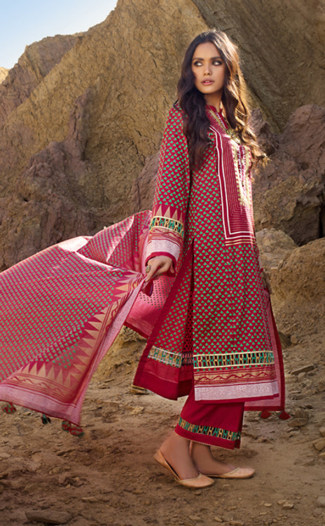 Gul Ahmed 3 Piece Custom Stitched Suit - Red - LB16130