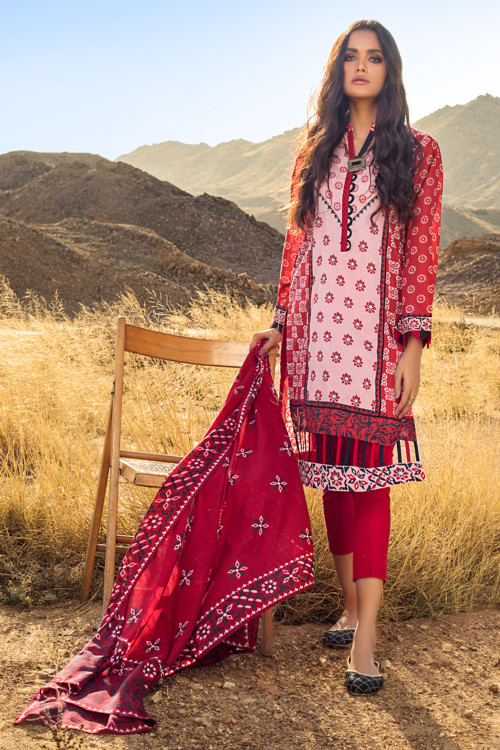 Gul Ahmed 3 Piece Custom Stitched Suit - Red - LB16131