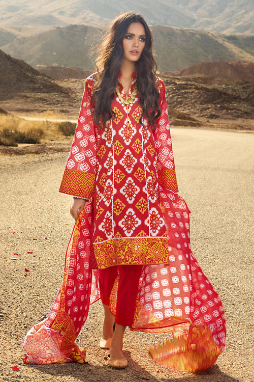 Gul Ahmed 3 Piece Custom Stitched Suit - Red - LB16132