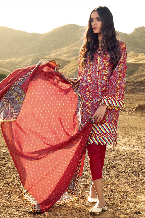 Gul Ahmed 3 Piece Custom Stitched Suit - Red - LB16133