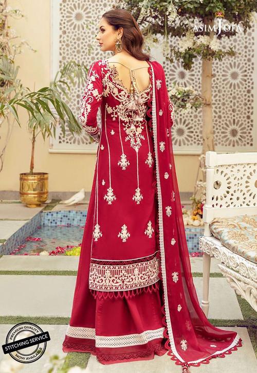 Asim Jofa 3 Piece Custom Stitched Suit - Red - LB16423