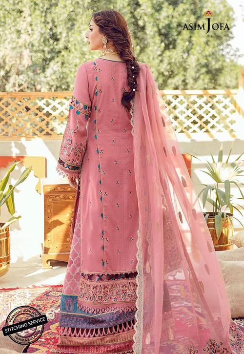 Asim Jofa 3 Piece Custom Stitched Suit - Pink - LB16426