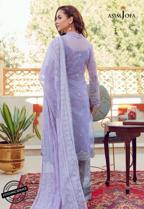 Asim Jofa 3 Piece Custom Stitched Suit - Purple - LB16427