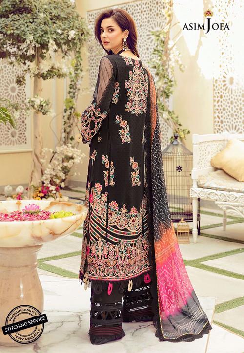 Asim Jofa 3 Piece Custom Stitched Suit - Black - LB16428