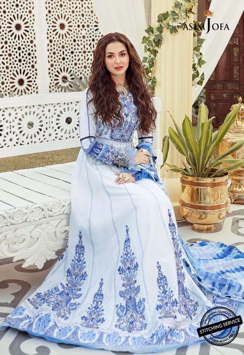 Asim Jofa 3 Piece Custom Stitched Suit - White - LB16429