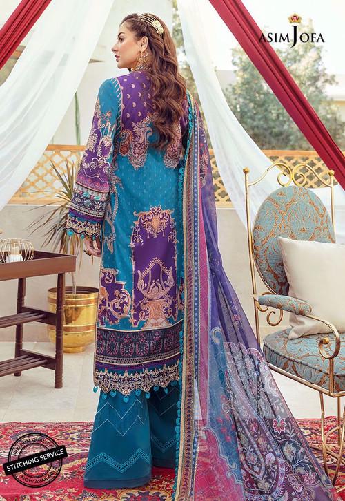 Asim Jofa 3 Piece Custom Stitched Suit - Blue - LB16430