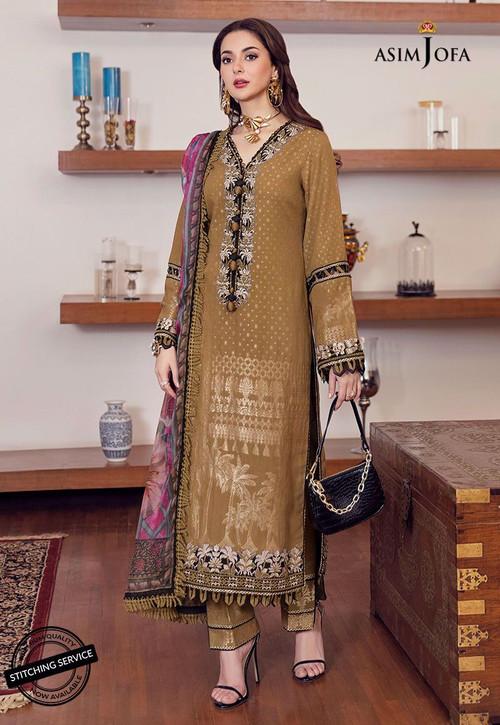 Asim Jofa 3 Piece Custom Stitched Suit - Brown - LB16431