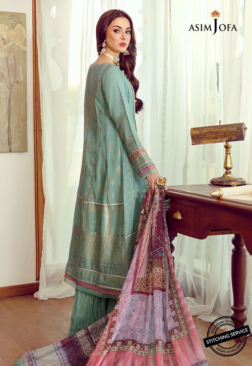 Asim Jofa 3 Piece Custom Stitched Suit - Green - LB16433
