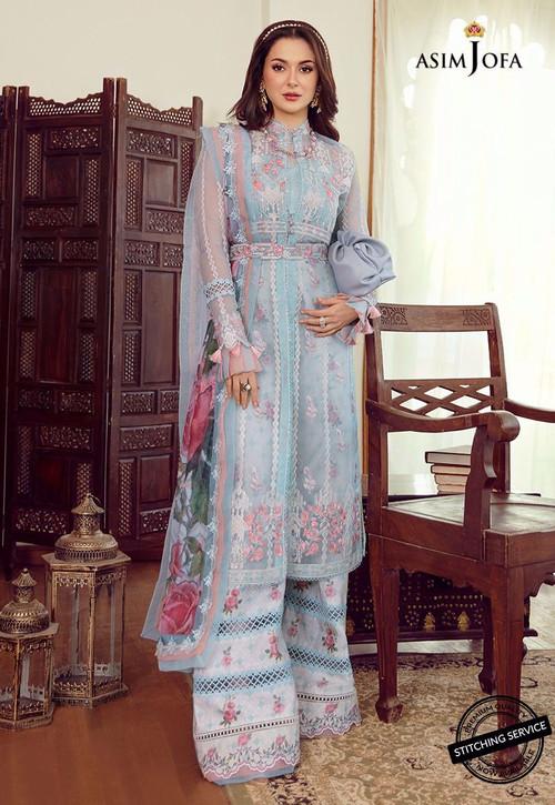 Asim Jofa 3 Piece Custom Stitched Suit - Blue - LB16435