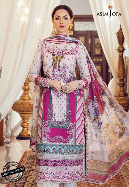 Asim Jofa 3 Piece Custom Stitched Suit - Purple - LB16436