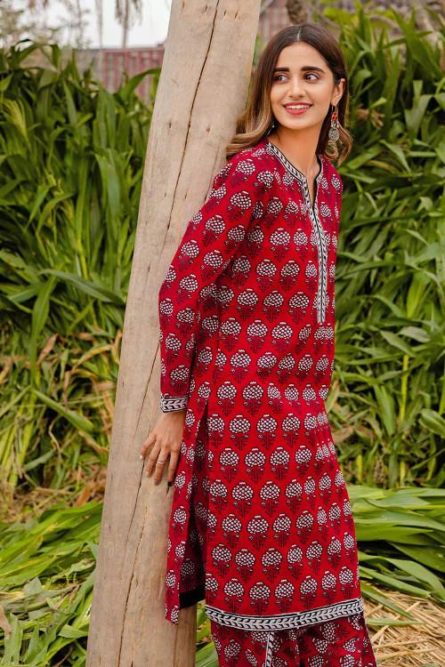 Gul Ahmed 1 Piece Custom Stitched Shirt - Red - LB16448