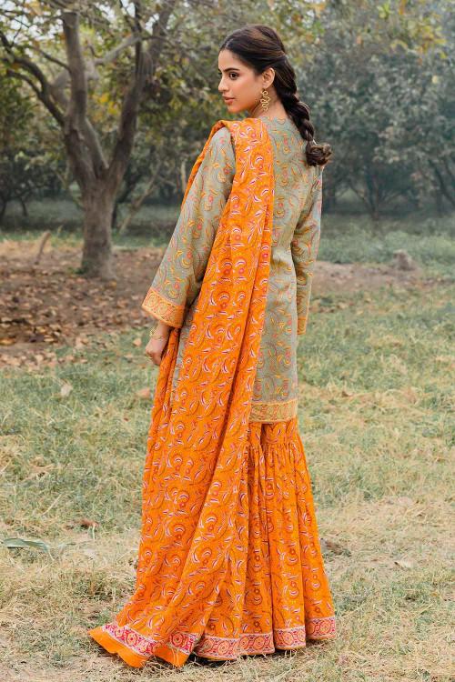 Gul Ahmed 1 Piece Custom Stitched Shirt - Orange - LB16453