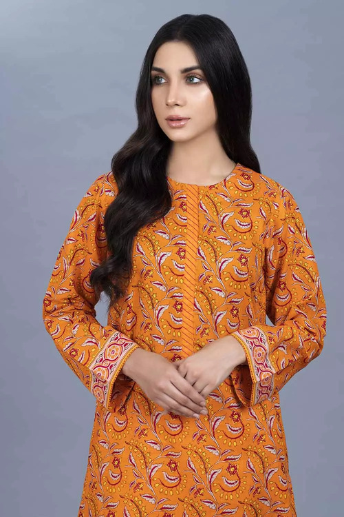 Gul Ahmed 1 Piece Custom Stitched Shirt - Orange - LB16454