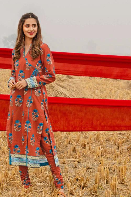 Gul Ahmed 1 Piece Custom Stitched Shirt - Orange - LB16455