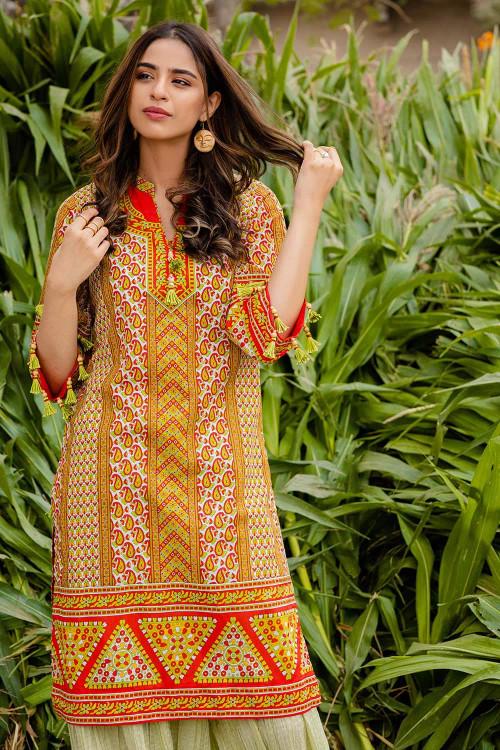 Gul Ahmed 1 Piece Custom Stitched Shirt - Orange - LB16462