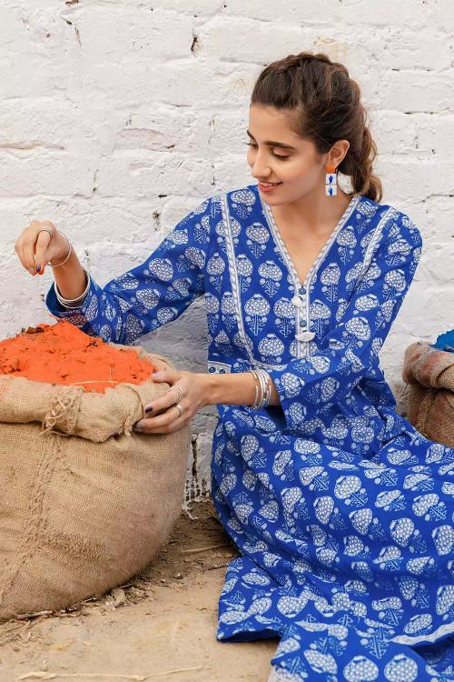 Gul Ahmed 1 Piece Custom Stitched Shirt - Blue - LB16463