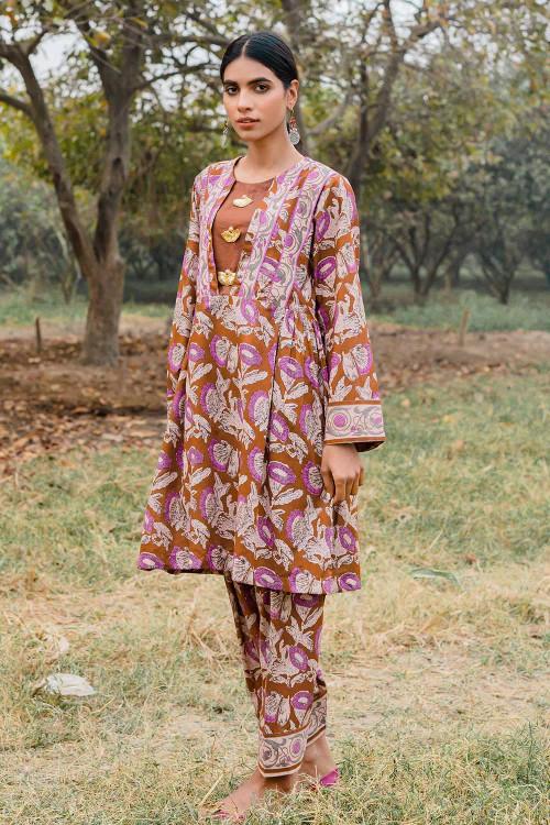 Gul Ahmed 1 Piece Custom Stitched Shirt - Brown - LB16465
