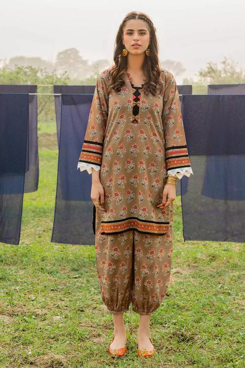 Gul Ahmed 1 Piece Custom Stitched Shirt - Brown - LB16470