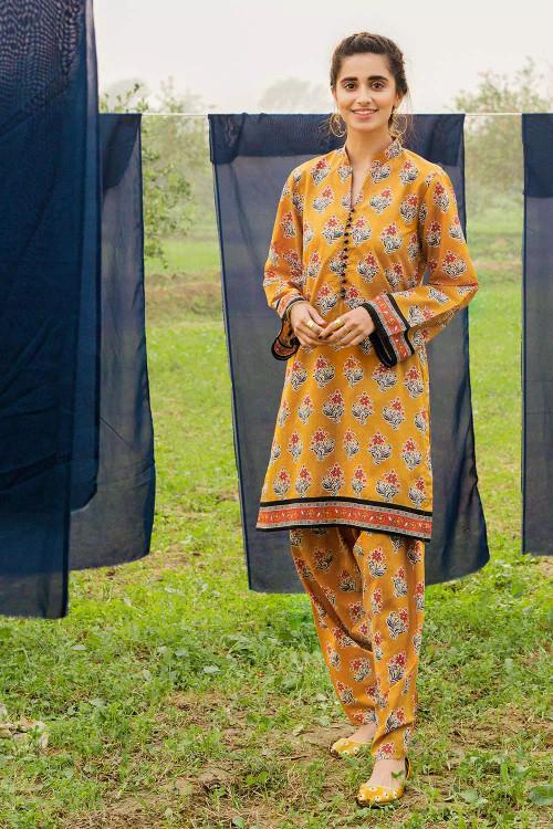 Gul Ahmed 1 Piece Custom Stitched Shirt - Orange - LB16471