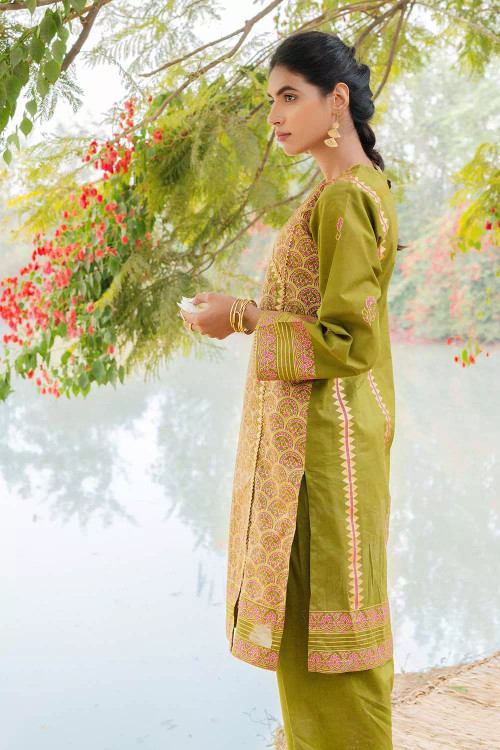 Gul Ahmed 2 Piece Custom Stitched Suit - Green - LB16479