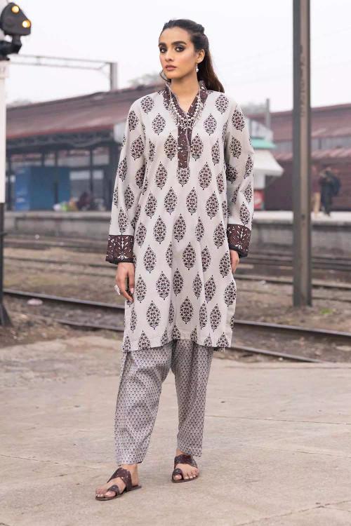 Gul Ahmed 2 Piece Custom Stitched Suit - Grey - LB16483