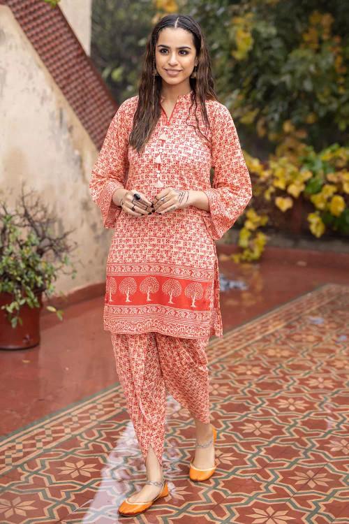Gul Ahmed 1 Piece Custom Stitched Shirt - Orange - LB16487