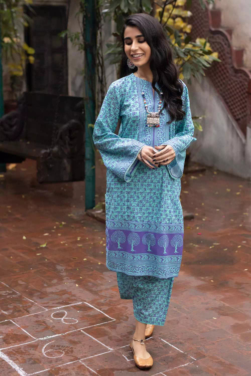 Gul Ahmed 1 Piece Custom Stitched Shirt - Blue - LB16488