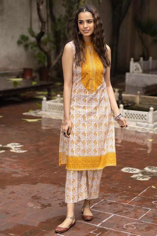 Gul Ahmed 1 Piece Custom Stitched Shirt - Yellow - LB16491