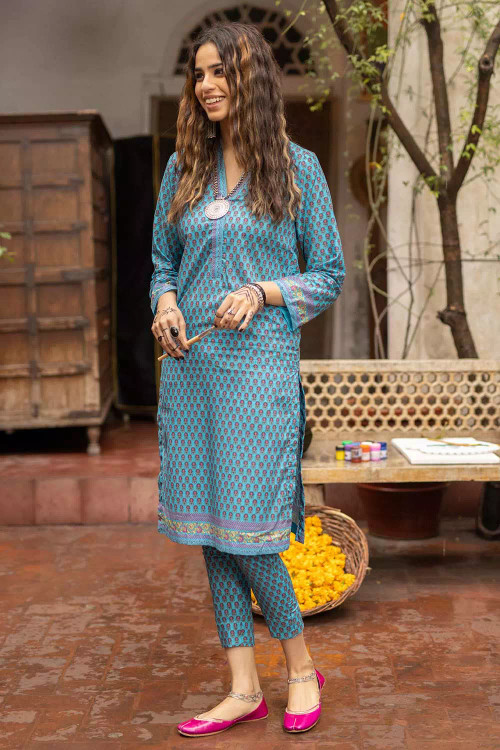Gul Ahmed 1 Piece Custom Stitched Shirt - Blue - LB16496