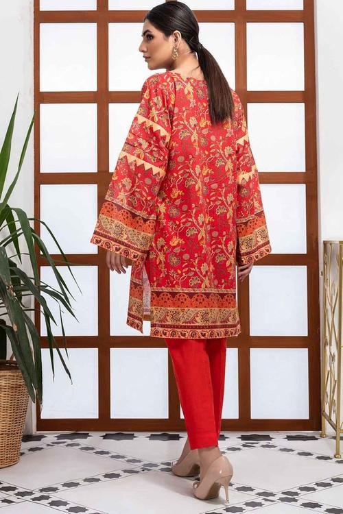 Warda 1 Piece Custom Stitched Shirt - Orange - LB16505