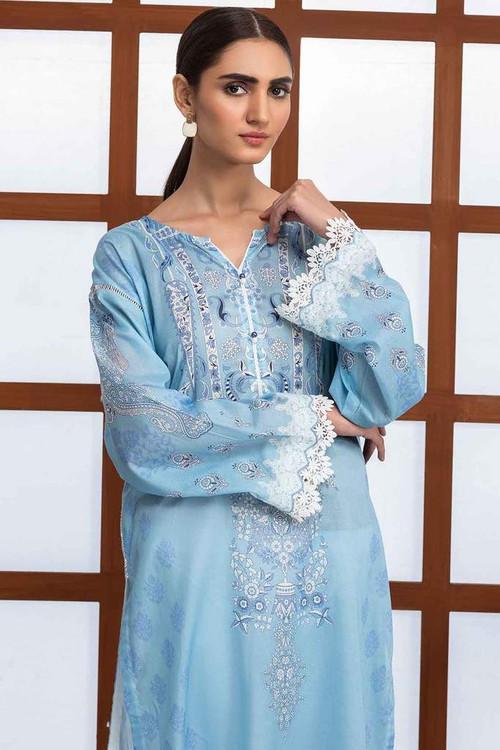 Warda 1 Piece Custom Stitched Shirt - Blue - LB16536