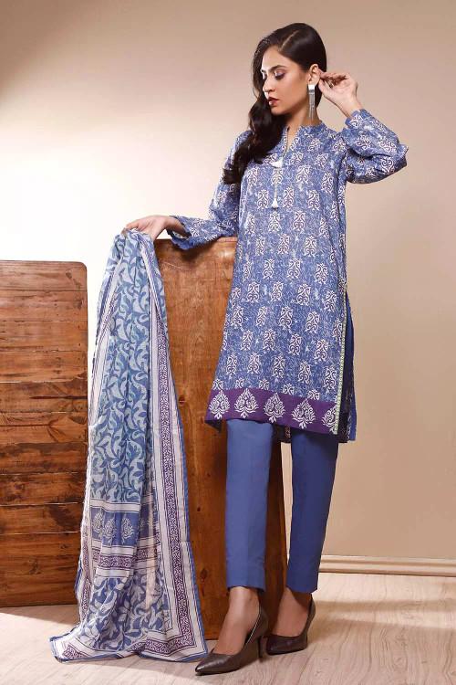 Gul Ahmed 3 Piece Custom Stitched Suit - Blue - LB16543
